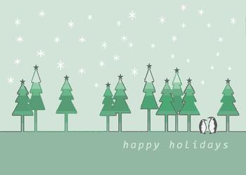 Happy Holidays Green Trees