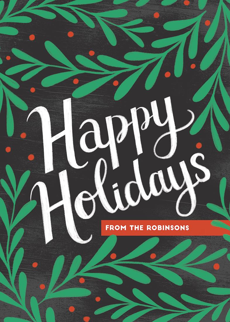 non-photo holiday cards - Happy Holly Holidays by Meghan Hageman