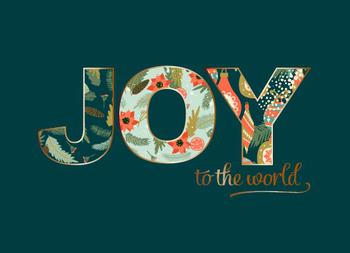 Joy to the World Rose Gold Foil Card