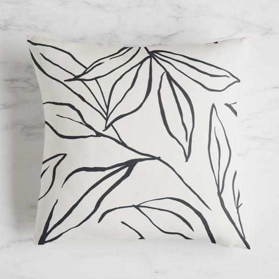 fabric - ink line leaves by Cass Loh
