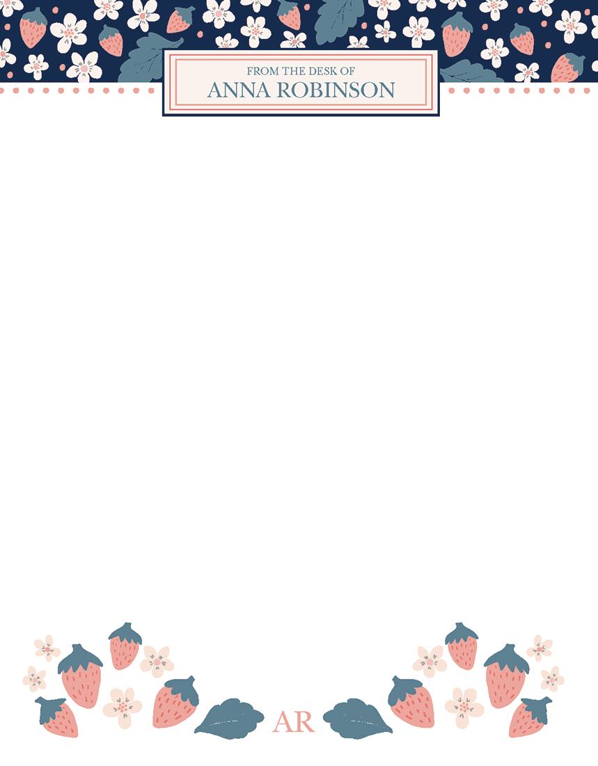 personal stationery - Blue Strawberry Stationary by Meghan Hageman