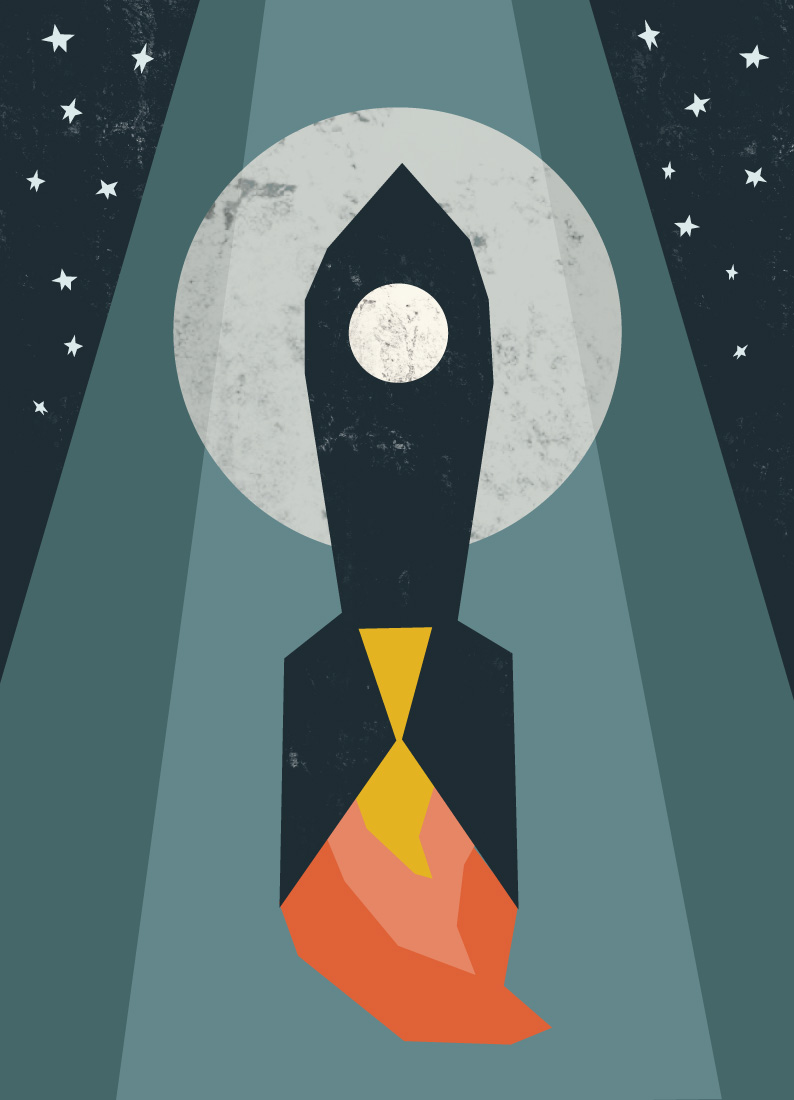 art prints - Rocket to the Moon by Morgan Kendall