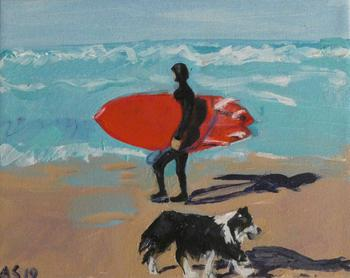 Dog Beach Surfer with Dog