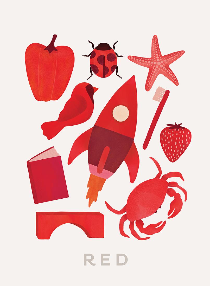 art prints - Ten Red Things by Ana Peake