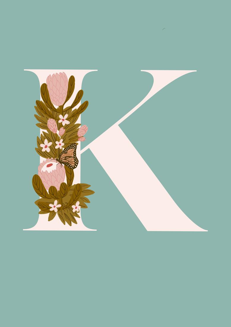 art prints - Protea Letter K by hayleypauldesign
