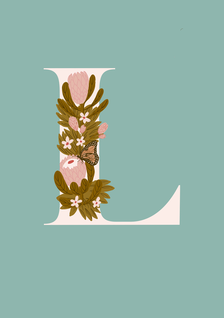 art prints - Protea Letter L by hayleypauldesign
