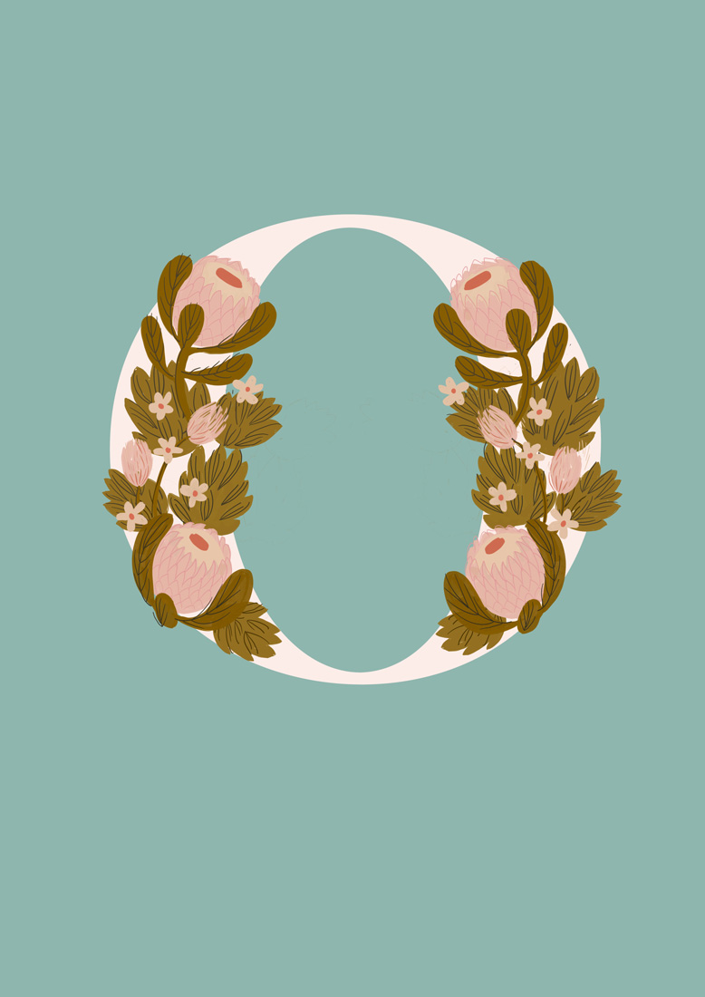 art prints - Protea Letter O by hayleypauldesign