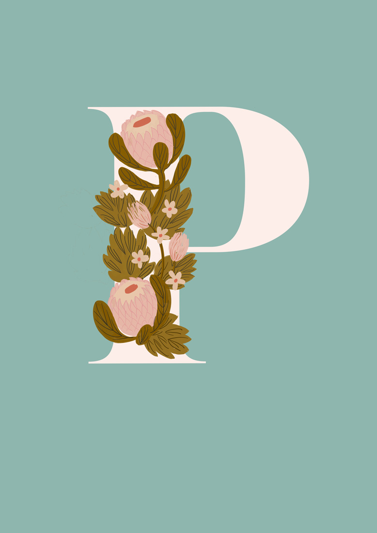 art prints - Protea Letter P by hayleypauldesign