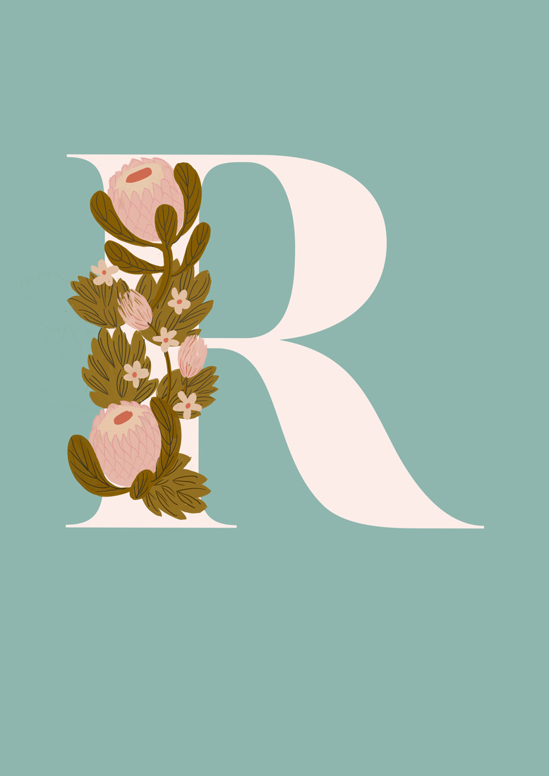 art prints - Protea Letter R by hayleypauldesign