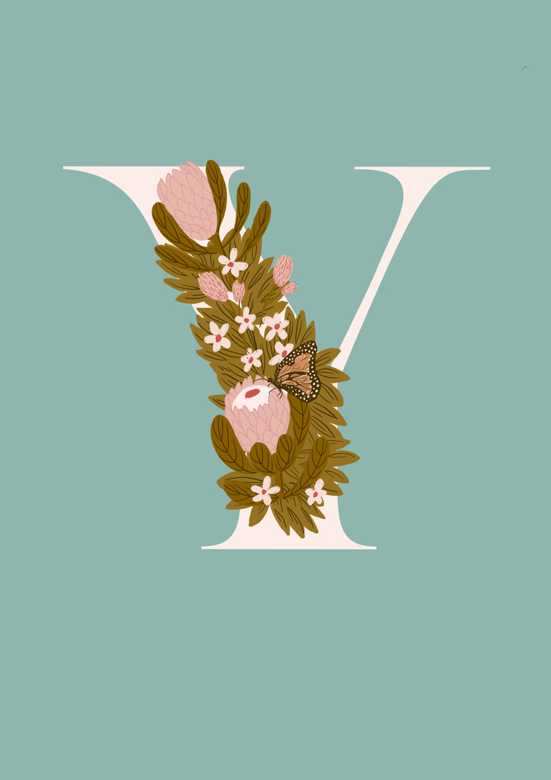 art prints - Protea Letter Y by hayleypauldesign
