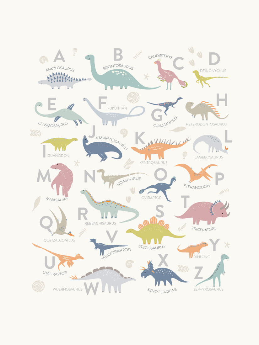 art prints - Alphabet Dinos by Teju Reval