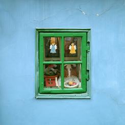 Green window, blue wall