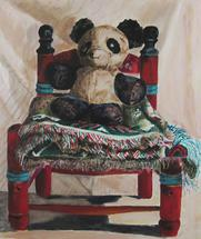 Tattered Bear and Chair by Barbara McKenzie