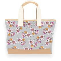 Grey Pink Flower Bag by Kelly Nicole Aiken