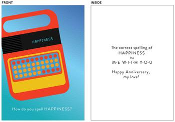 Vintage spelling toy anniversary card