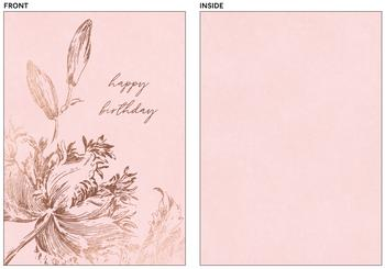 Happy Birthday Etched Flowers