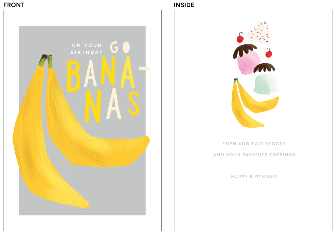 greeting cards - bananas by Rebecca Durflinger