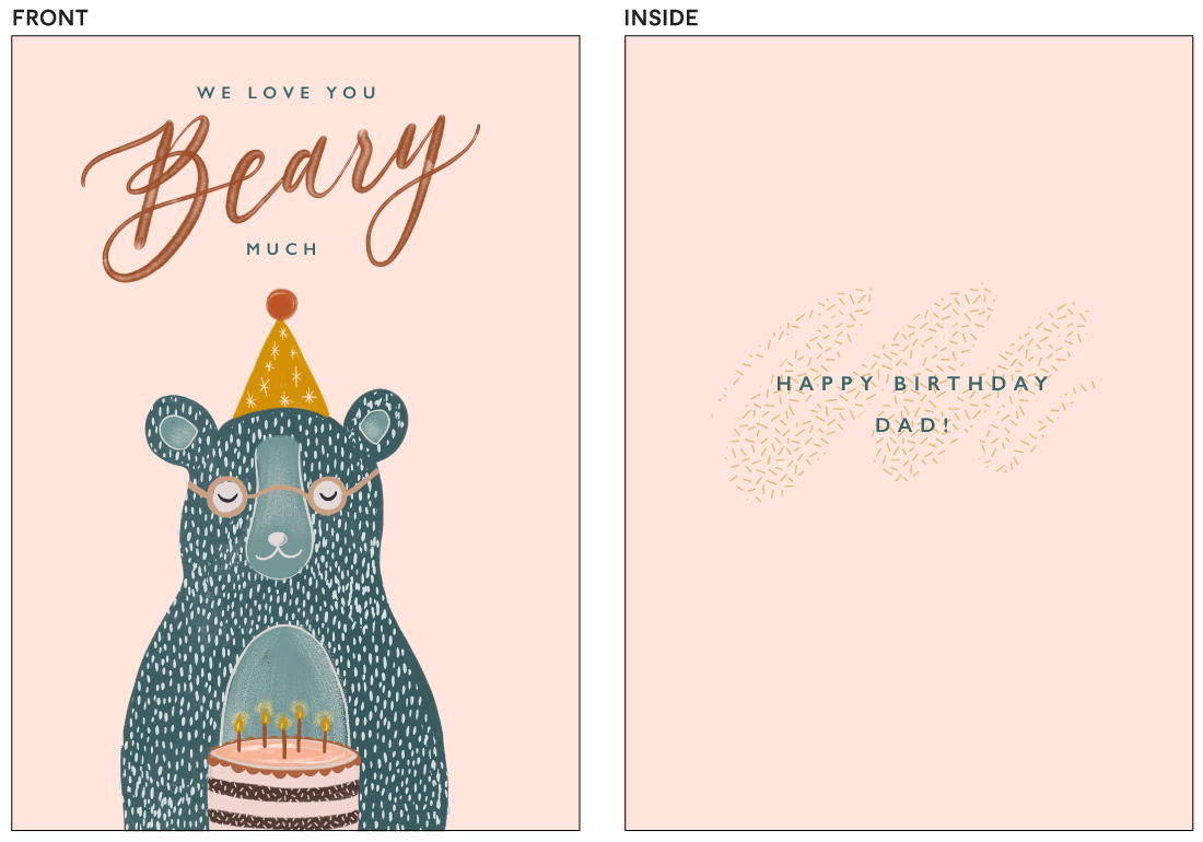 greeting cards - Beary Much by ink moth creative