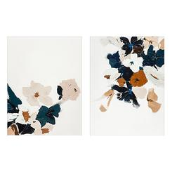 Abstract Botanical Floral Diptych