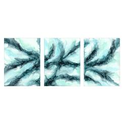 Riptides Triptych Abstract